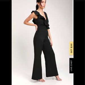 Lulus Sure to Be Seen Black sleeveless jumpsuit